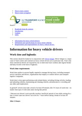 Heavy Vehicle driver requirements
