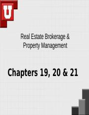 Chapters 19,20,21 Real Estate Brokerage & Property Management.ppt
