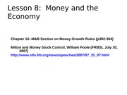 Lesson 8--Money and the Economy
