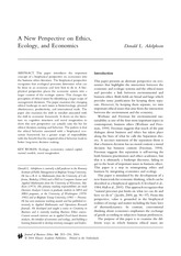 New Perspectives on Environment and Ecology