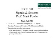 EECE 301 Note Set 21 Sampling of CT Signals
