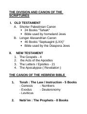 THE DIVISION AND CANON OF THE SCRIPTURE.doc