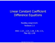 Lecture 3 Linear Constant Coefficient Difference Equations