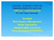 Intro To Programming in MatLab Lecture 2