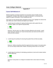 HCR 210 Week 8 Career Self-Reflection II  Appendix F