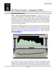 Lab 9- RC Series Circuits- Frequency Filters