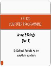 Lecture 8 - Arrays Part II