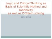 Logic and Critical Thinking as Basis of Scientific Method and Rationality_13th Meeting