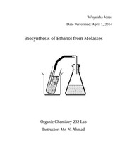 biosynthesis of ethanol from molasses organic 2 lab