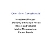 FINAN 450 Investment Overview
