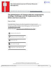 T3 The globalization of Chinese telecom corporations strategy challenges and HR implications for the