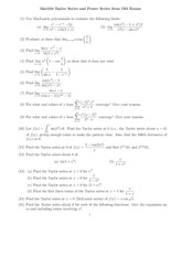 Taylor Series and Power Series from Old Exams
