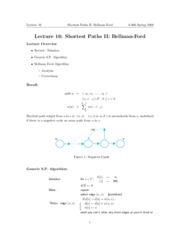 Shortest Paths II Bellman-Ford notes
