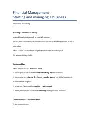 Starting a Business, Risk, Business Plan