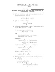 Exam 4 Solution Fall 2014 on Differential Equations