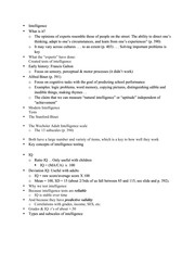 PSY2301 Intelligence Lecture Outline