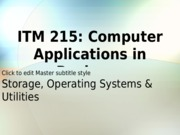 ITM 215 Class  6 and 7 Feb 9