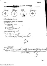 Derivatives of Trigonometric Functions test