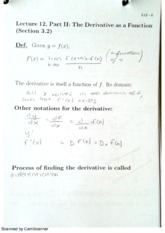 MAC2311 Lecture 12, Part II The Derivative as a Function notes