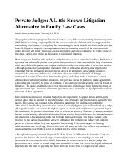 Private Judges A Little Known Litigation Alternative in Family Law Cases