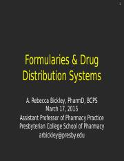 Formularies and Drug Distribution Systems