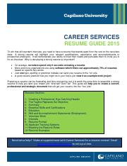 Resume Guide Cap U Career Services 2015 Combined