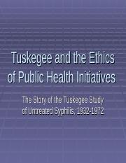 Tuskegee and the Ethics of Public Health Initiatives