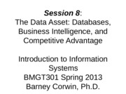 Session 5 BMGT301 - Fall 2013 - The Data Asset rev 1