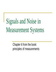 Signals and Noise in Measurement Systems week 6