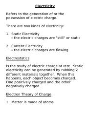 Electricity Intro Notes Refers To The Generation Of Or Possession Electric Charge There Are Two Kinds 1 Static