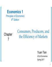 Ch 7 Consumers, Producers, and the Efficiency of Markets