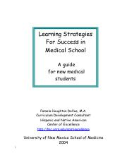 Learning Strategies for Success in Med School