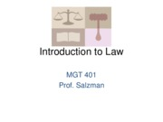 J11 MGT 401 - Introduction to Law