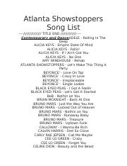 Atlanta Showstoppers Song List.docx
