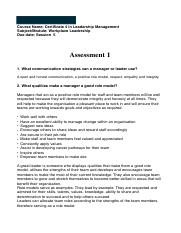 Assessment 1 workplace Leadership