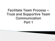 8.Facilitate team process – Trust and supportive team communication Part 1