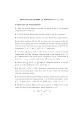 CALCULUS OF VARIATIONS- Homework set