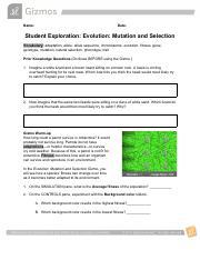 EvolutionMutationSelectionSE.docx - Name Date Student ...