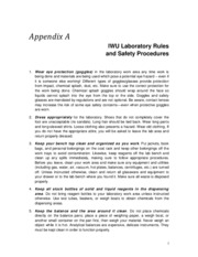 Appendix A - Laboratory Rules and Safety Procedures