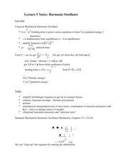 Lecture 5 Notes Harmonic Oscillator