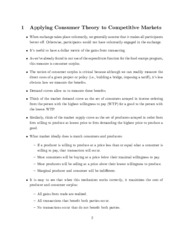 Consumer Theory to Competitive Markets review study guide