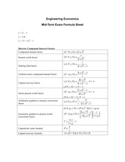 Mid-term Exam Formula Sheet 2012