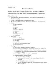 Com Arts 351 Final Exam Terms and Notes
