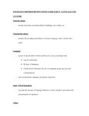 SOCIOLOGY MIDTERM REVIEW STUDY GUIDE PART 9 – LANGUAGE AND CULTURE
