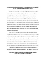 Essay - Successful or Efective Manager
