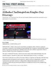 Alibaba Challenged on Singles Day Strategy - WSJ