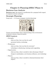 Chapter 2: Planning (SDLC Phase 1)