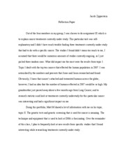 Cancer reflection Paper