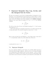 7 improper integrals, exp. log, arcsine and the integral test for series notes