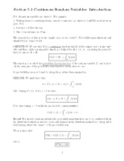 Continuous variables notes